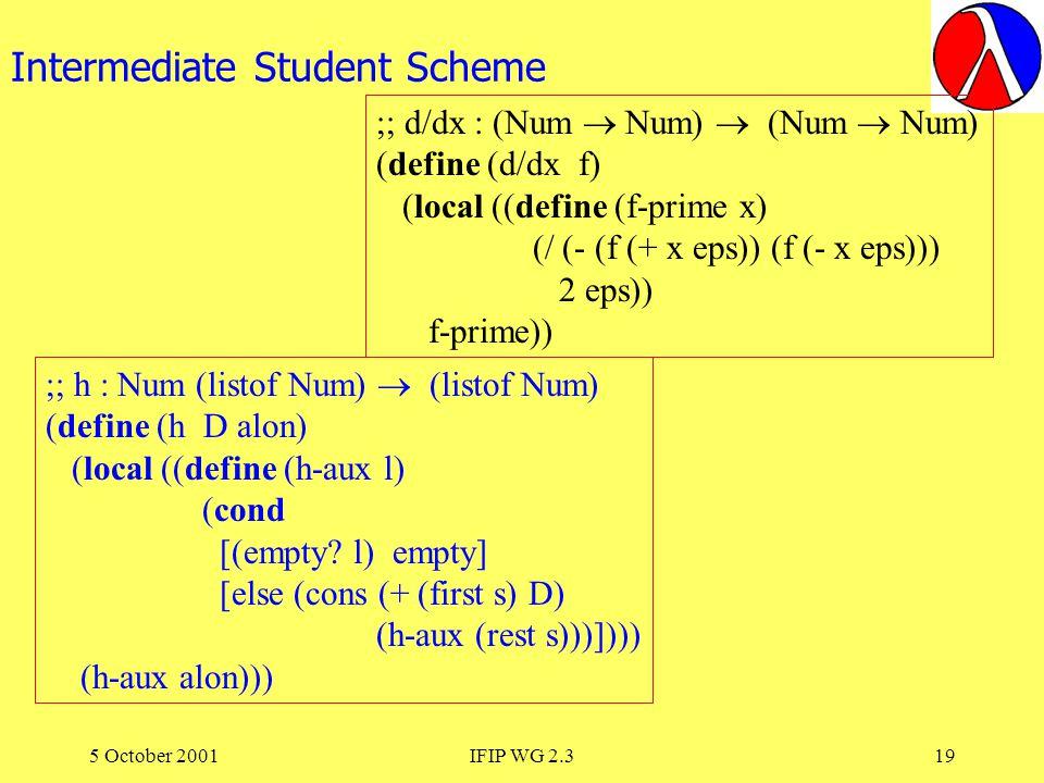 5 October 2001IFIP WG 2.319 Intermediate Student Scheme ;; h : Num (listof Num) (listof Num) (define (h D alon) (local ((define (h-aux l) (cond [(empty.