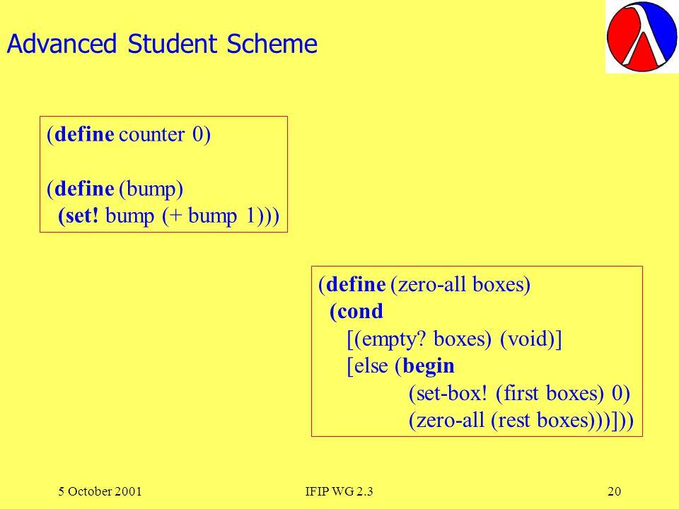5 October 2001IFIP WG 2.320 Advanced Student Scheme (define counter 0) (define (bump) (set.
