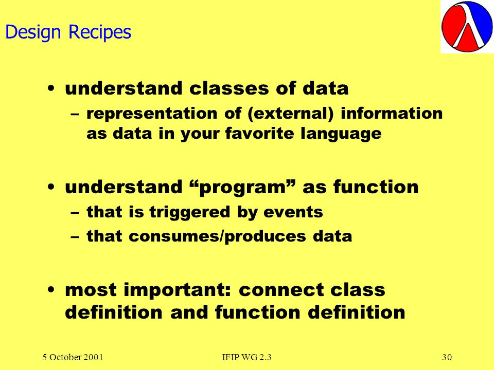 5 October 2001IFIP WG 2.330 Design Recipes understand classes of data –representation of (external) information as data in your favorite language understand program as function –that is triggered by events –that consumes/produces data most important: connect class definition and function definition