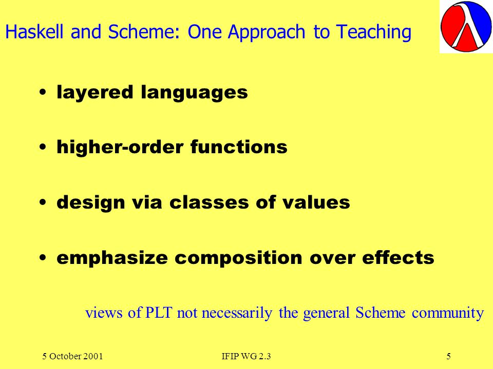 5 October 2001IFIP WG 2.36 Haskell loves Scheme, Scheme loves Haskell :-) The Commonalties outweigh the differences.