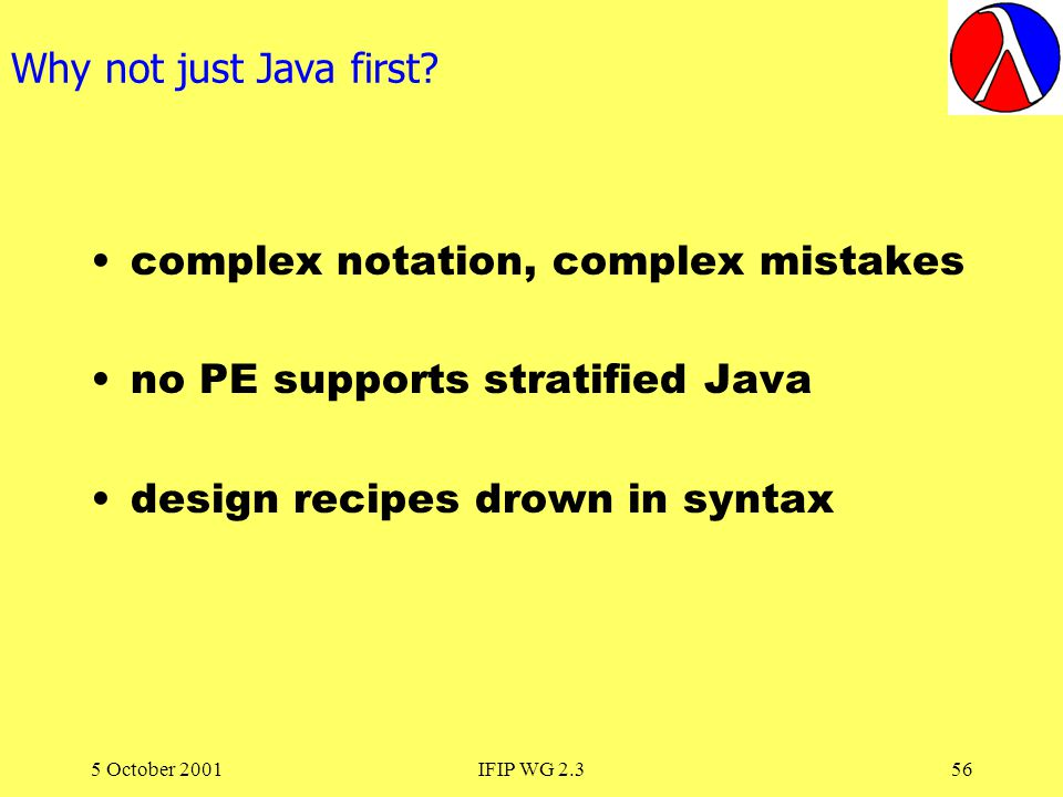 5 October 2001IFIP WG 2.356 Why not just Java first.