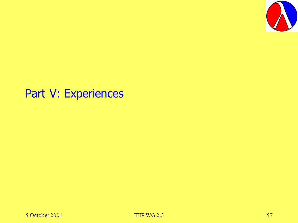 5 October 2001IFIP WG 2.357 Part V: Experiences