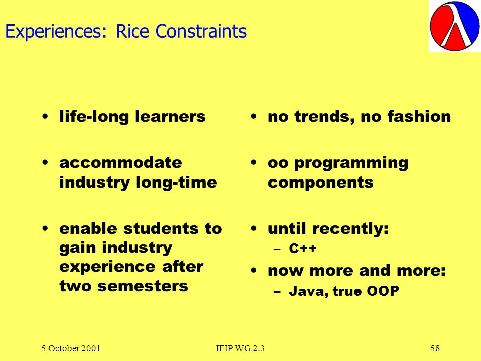 5 October 2001IFIP WG 2.358 Experiences: Rice Constraints life-long learners accommodate industry long-time enable students to gain industry experience after two semesters no trends, no fashion oo programming components until recently: –C++ now more and more: –Java, true OOP