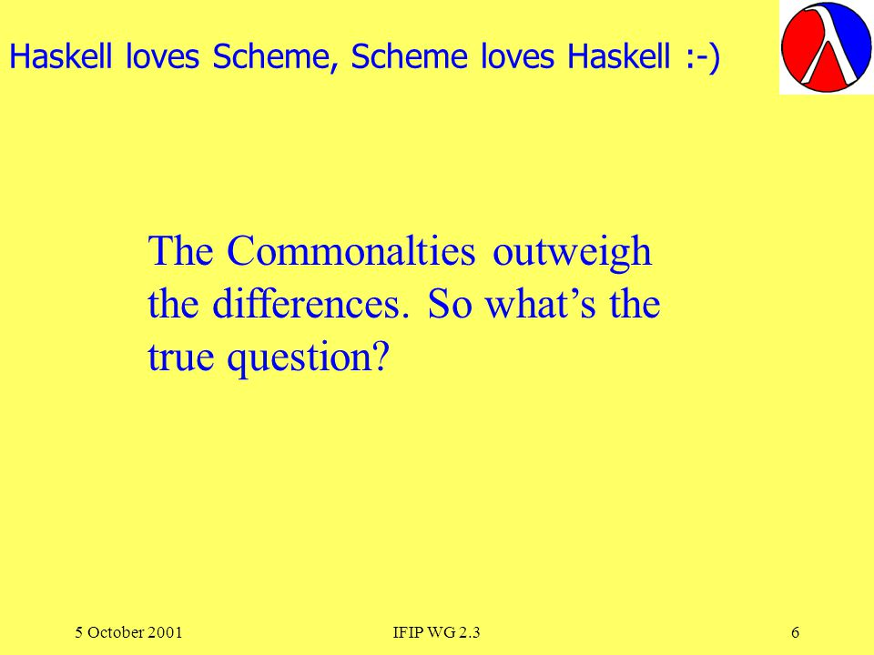 5 October 2001IFIP WG 2.37 Why do They Still Teach Scheme or Haskell When Java and C# are So Fashionable ?