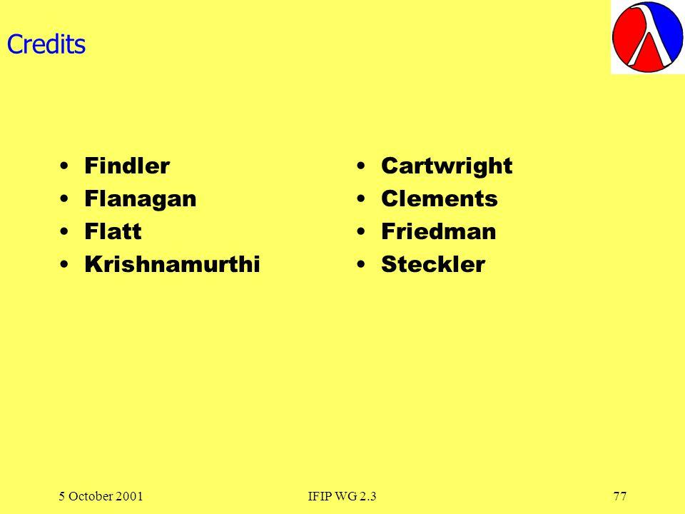 5 October 2001IFIP WG 2.377 Credits Findler Flanagan Flatt Krishnamurthi Cartwright Clements Friedman Steckler