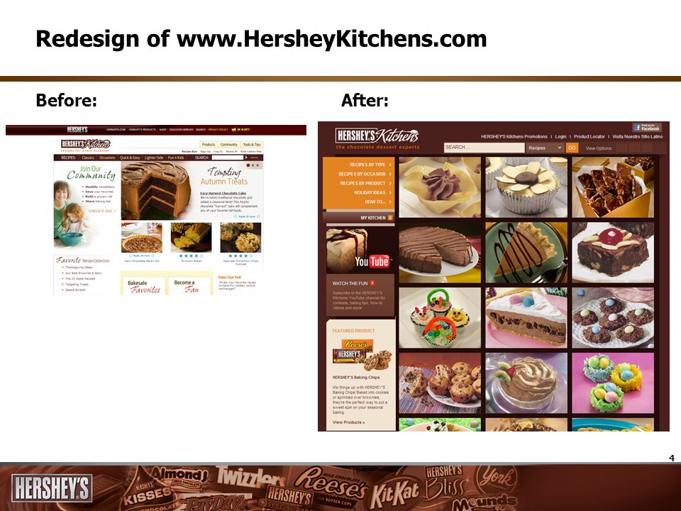4 Before:After: Redesign of www.HersheyKitchens.com