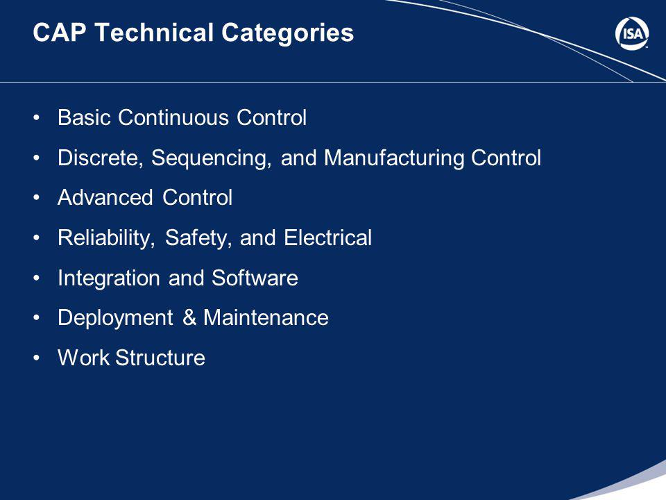 CAP Technical Categories Basic Continuous Control Discrete, Sequencing, and Manufacturing Control Advanced Control Reliability, Safety, and Electrical Integration and Software Deployment & Maintenance Work Structure