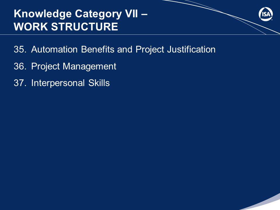 Knowledge Category VII – WORK STRUCTURE 35.Automation Benefits and Project Justification 36.Project Management 37.Interpersonal Skills