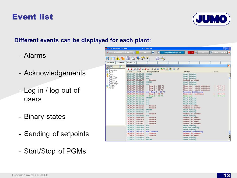 13 Produktbereich / © JUMO Event list Different events can be displayed for each plant: -Alarms -Acknowledgements -Log in / log out of users -Binary states -Sending of setpoints -Start/Stop of PGMs
