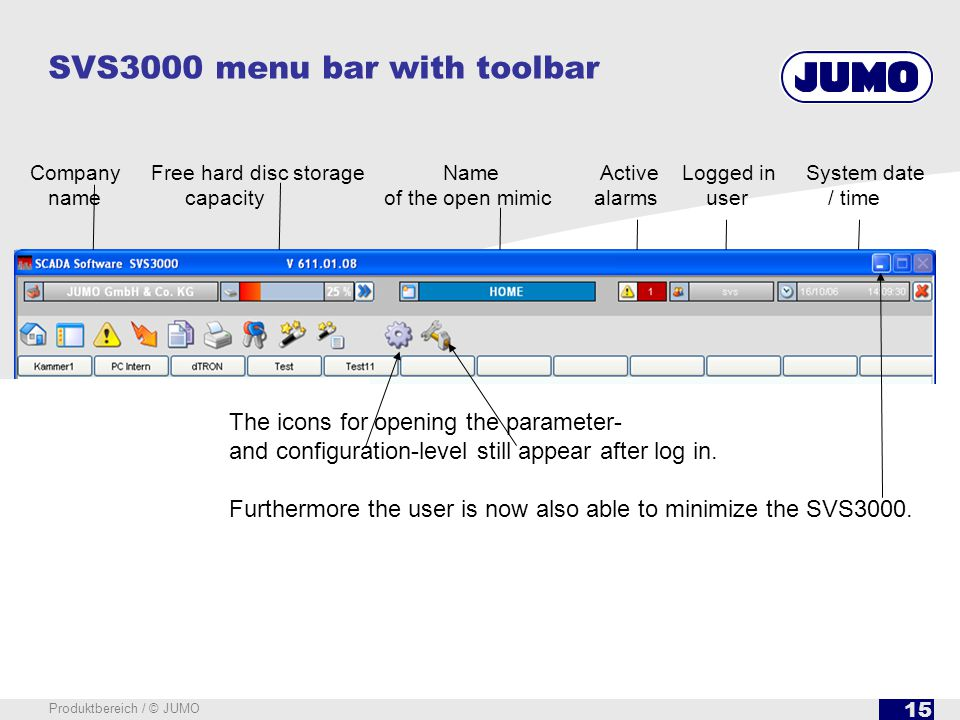 15 Produktbereich / © JUMO SVS3000 menu bar with toolbar Open recipe send list Select and send recipes Log in / log out of users Hardcopy of screen Op