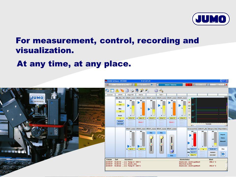 23 Produktbereich / © JUMO Tabular values SVS3000 batch printout Alarm / event list Trend chart