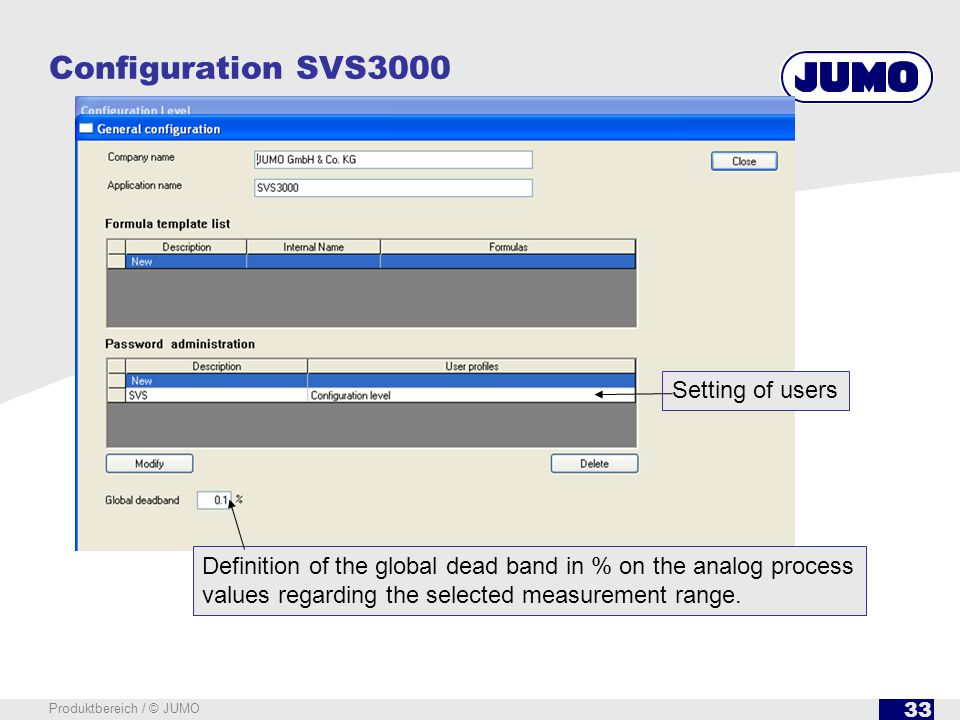 33 Produktbereich / © JUMO Configuration SVS3000 Setting of users Definition of the global dead band in % on the analog process values regarding the s