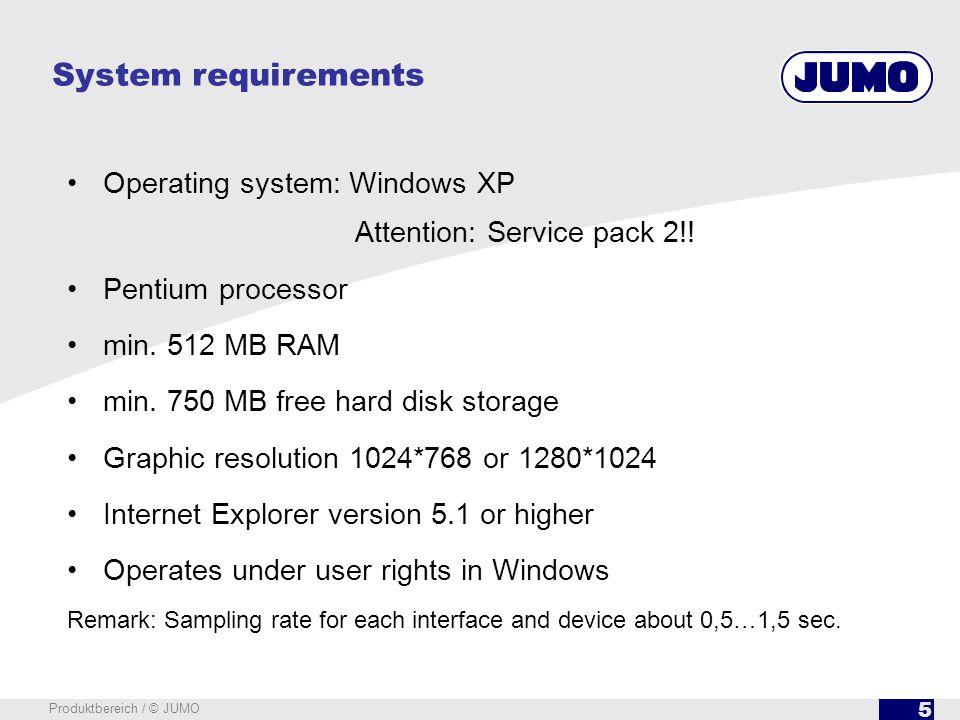 6 Produktbereich / © JUMO Start screen SVS3000 With menu bar and alarm list