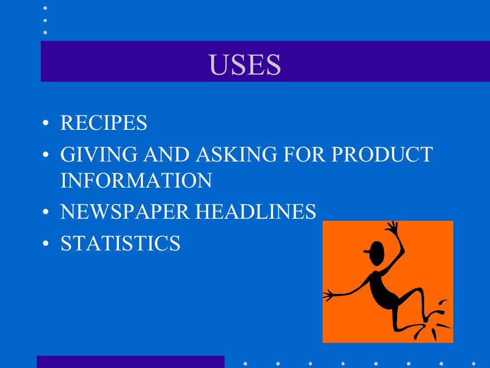 USES RECIPES GIVING AND ASKING FOR PRODUCT INFORMATION NEWSPAPER HEADLINES STATISTICS