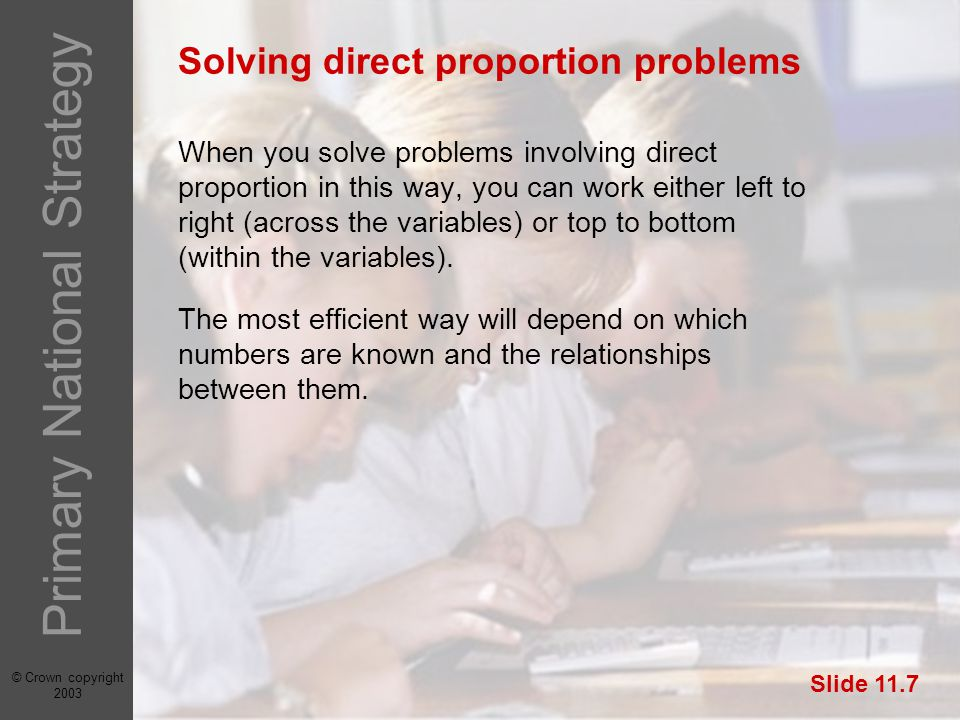 © Crown copyright 2003 Primary National Strategy Slide 11.7 Solving direct proportion problems When you solve problems involving direct proportion in this way, you can work either left to right (across the variables) or top to bottom (within the variables).