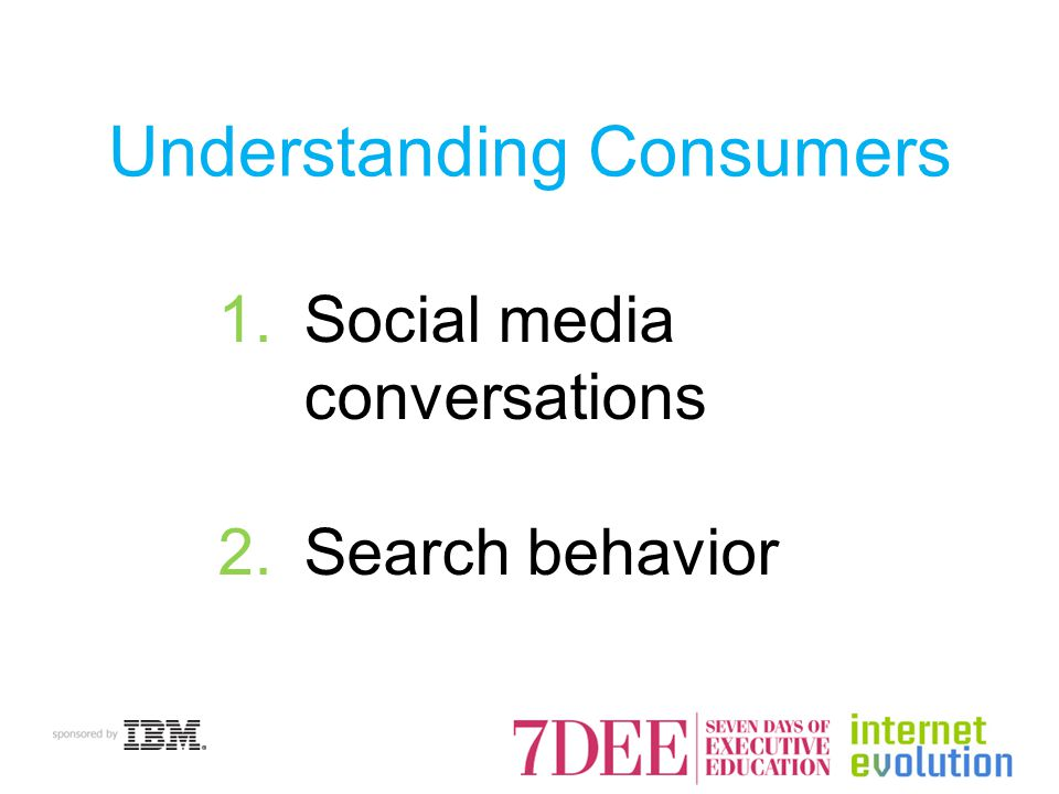 Understanding Consumers 1.Social media conversations 2.Search behavior