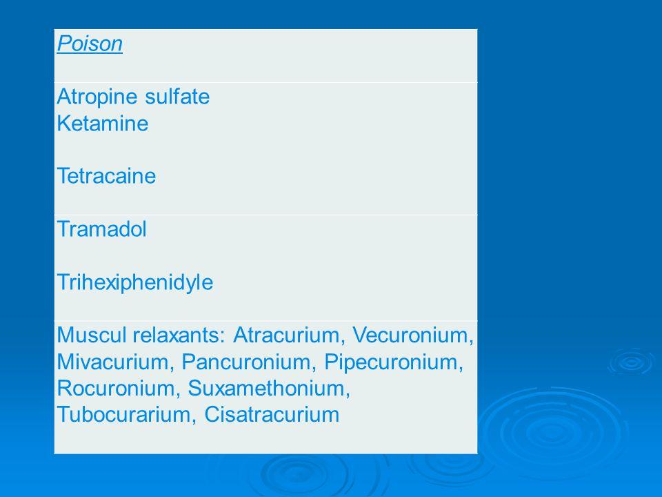 Poison Atropine sulfate Ketamine Tetracaine Tramadol Trihexiphenidyle Muscul relaxants: Atracurium, Vecuronium, Mivacurium, Pancuronium, Pipecuronium,