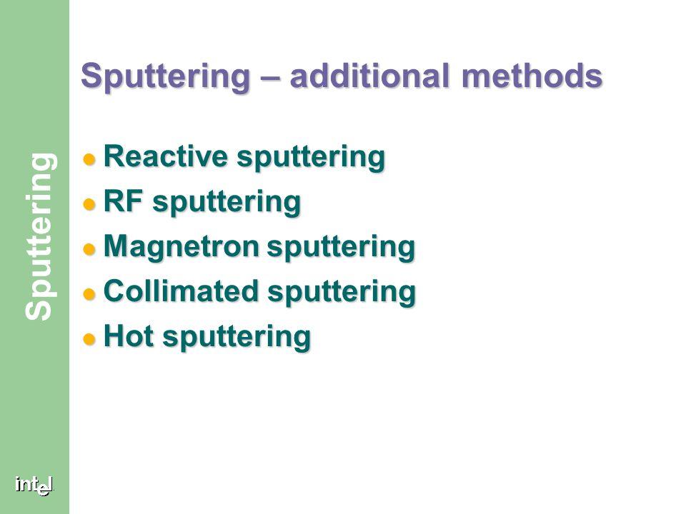® Sputtering Sputtering – additional methods Reactive sputtering Reactive sputtering RF sputtering RF sputtering Magnetron sputtering Magnetron sputtering Collimated sputtering Collimated sputtering Hot sputtering Hot sputtering