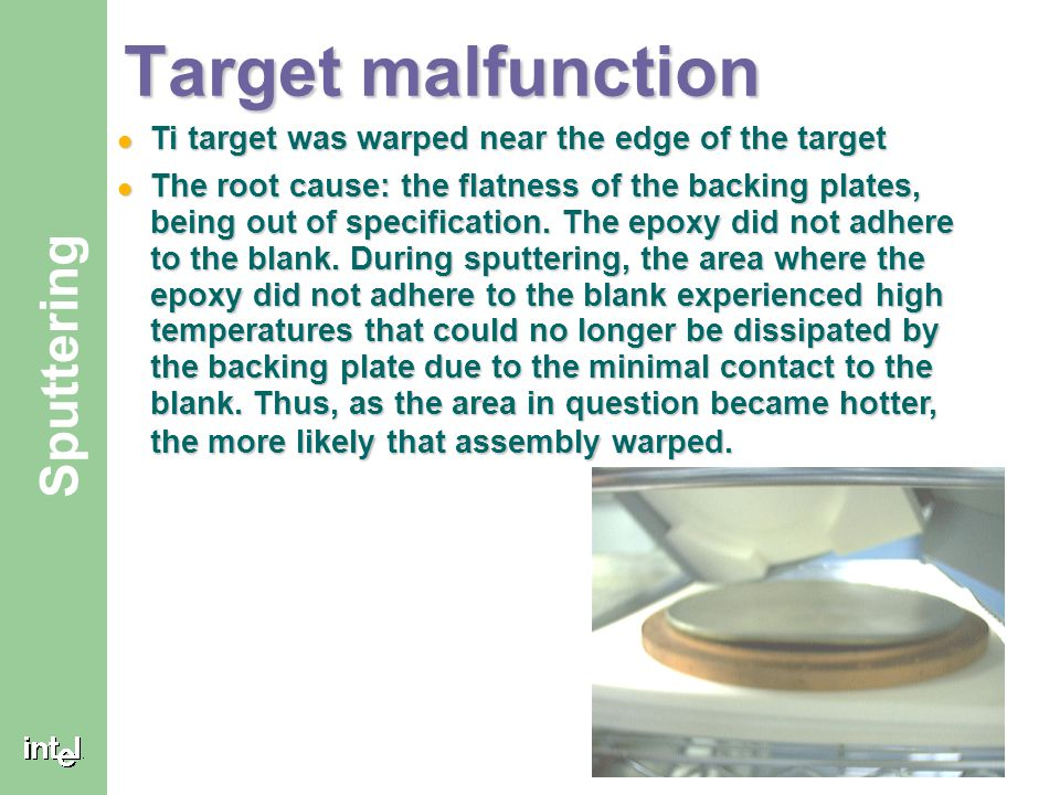 ® Sputtering Target malfunction Ti target was warped near the edge of the target Ti target was warped near the edge of the target The root cause: the
