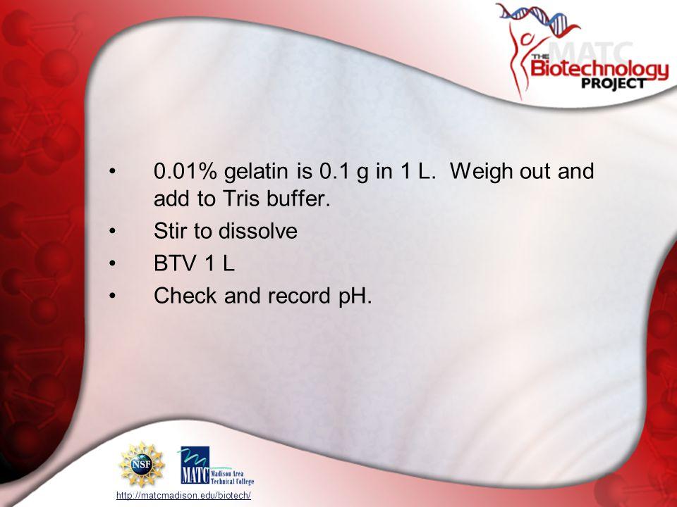 http://matcmadison.edu/biotech/ 0.01% gelatin is 0.1 g in 1 L.