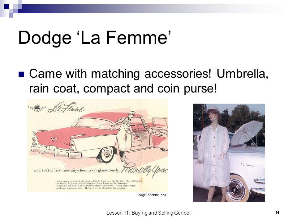 Lesson 11: Buying and Selling Gender9 Dodge La Femme Came with matching accessories! Umbrella, rain coat, compact and coin purse!