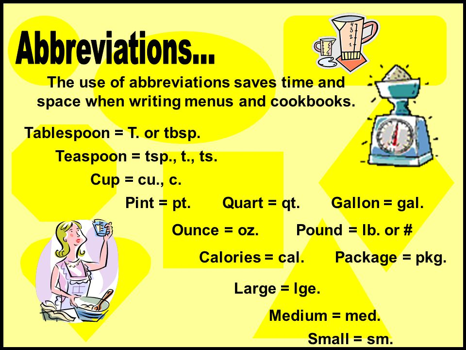 The use of abbreviations saves time and space when writing menus and cookbooks. Tablespoon = T. or tbsp. Teaspoon = tsp., t., ts. Cup = cu., c. Pint =