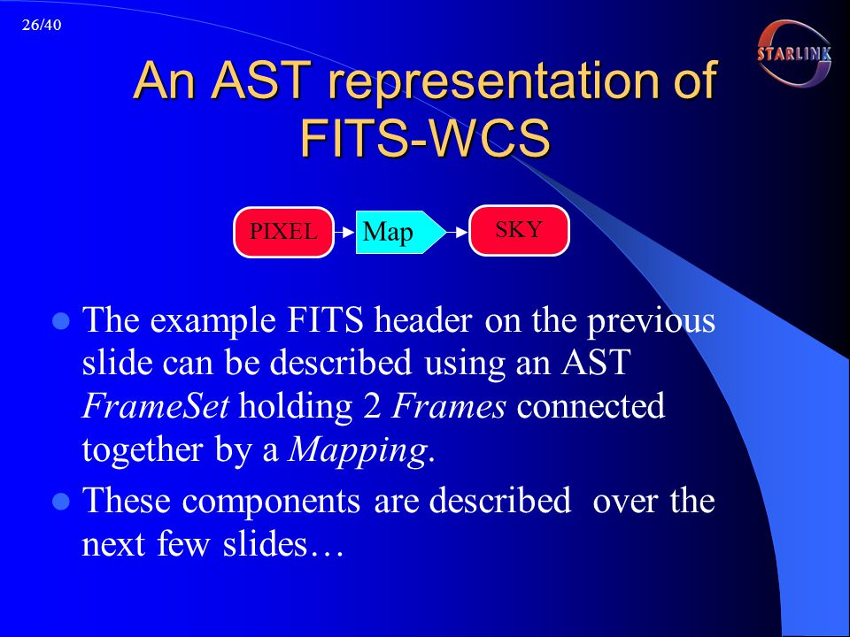 26/40 An AST representation of FITS-WCS The example FITS header on the previous slide can be described using an AST FrameSet holding 2 Frames connected together by a Mapping.