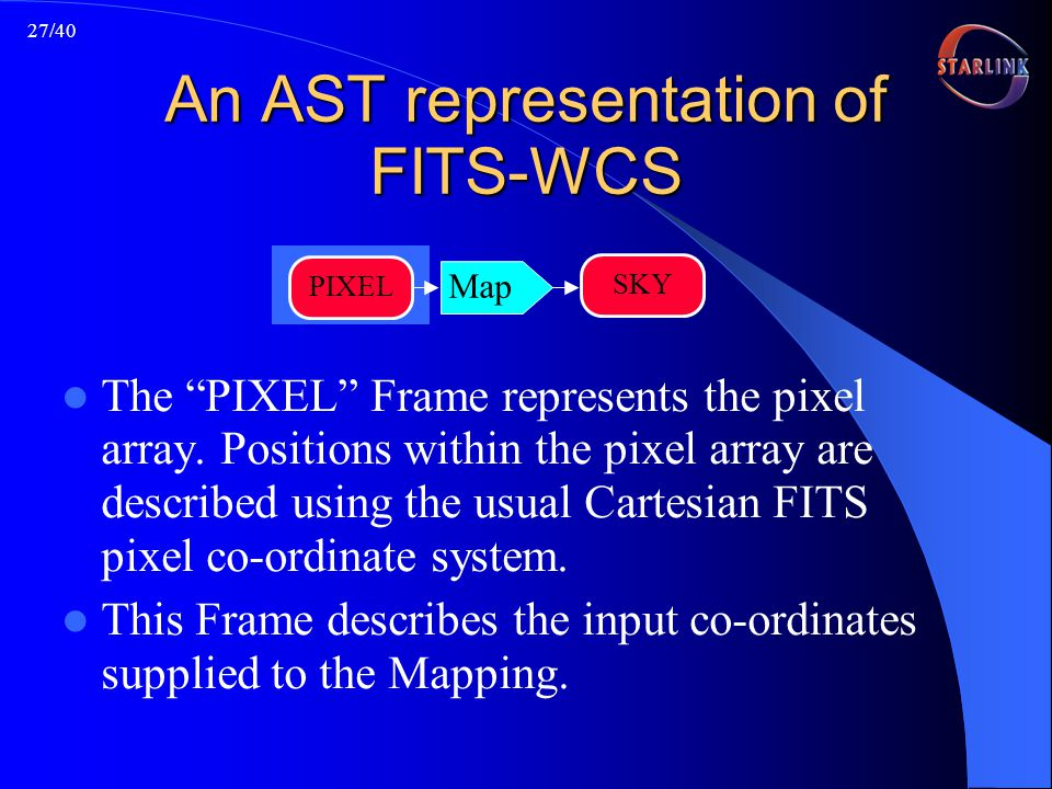 27/40 An AST representation of FITS-WCS The PIXEL Frame represents the pixel array.