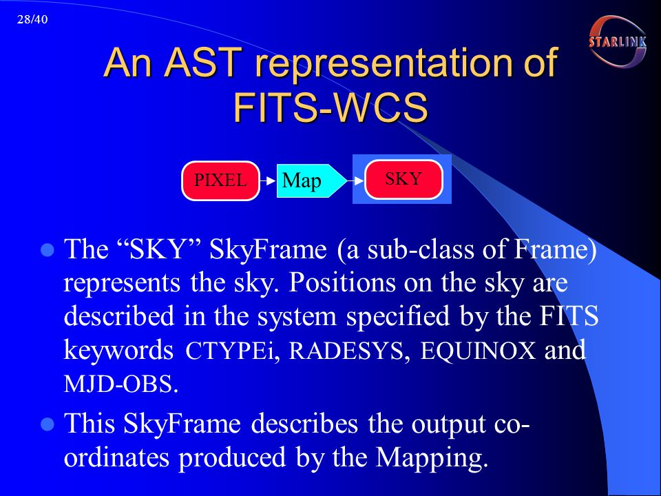 28/40 An AST representation of FITS-WCS The SKY SkyFrame (a sub-class of Frame) represents the sky.