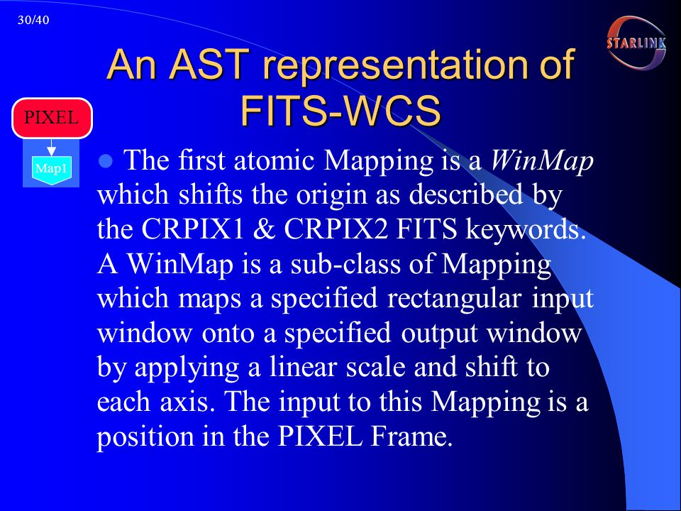 30/40 An AST representation of FITS-WCS The first atomic Mapping is a WinMap which shifts the origin as described by the CRPIX1 & CRPIX2 FITS keywords.