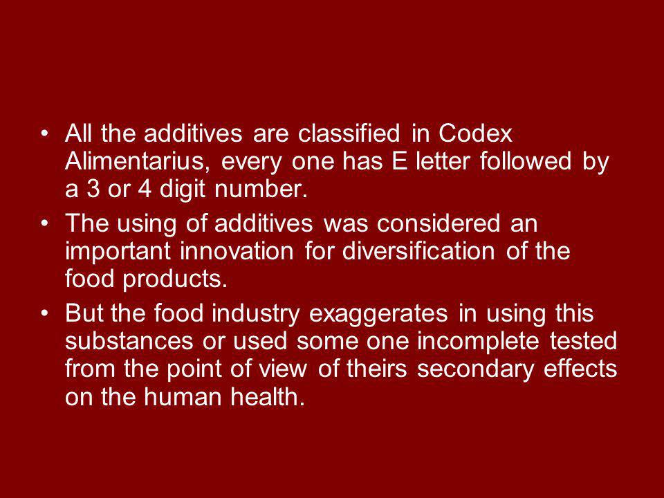 All the additives are classified in Codex Alimentarius, every one has E letter followed by a 3 or 4 digit number.