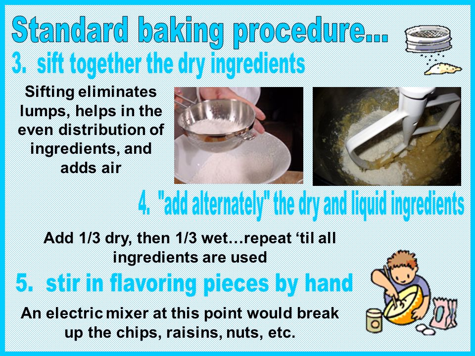 Most of the time, you wouldnt even need a recipe to follow. For most cakes and cookies, just follow standard baking procedure using the 5 step creamin