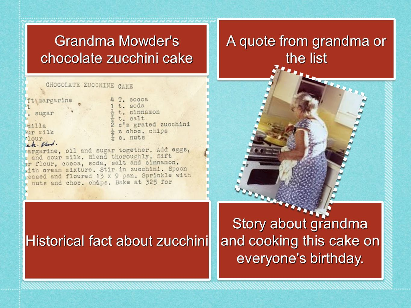 Grandma Mowder s chocolate zucchini cake Historical fact about zucchini Story about grandma and cooking this cake on everyone s birthday.