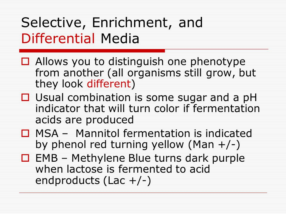 Selective, Enrichment, and Differential Media Allows you to distinguish one phenotype from another (all organisms still grow, but they look different)