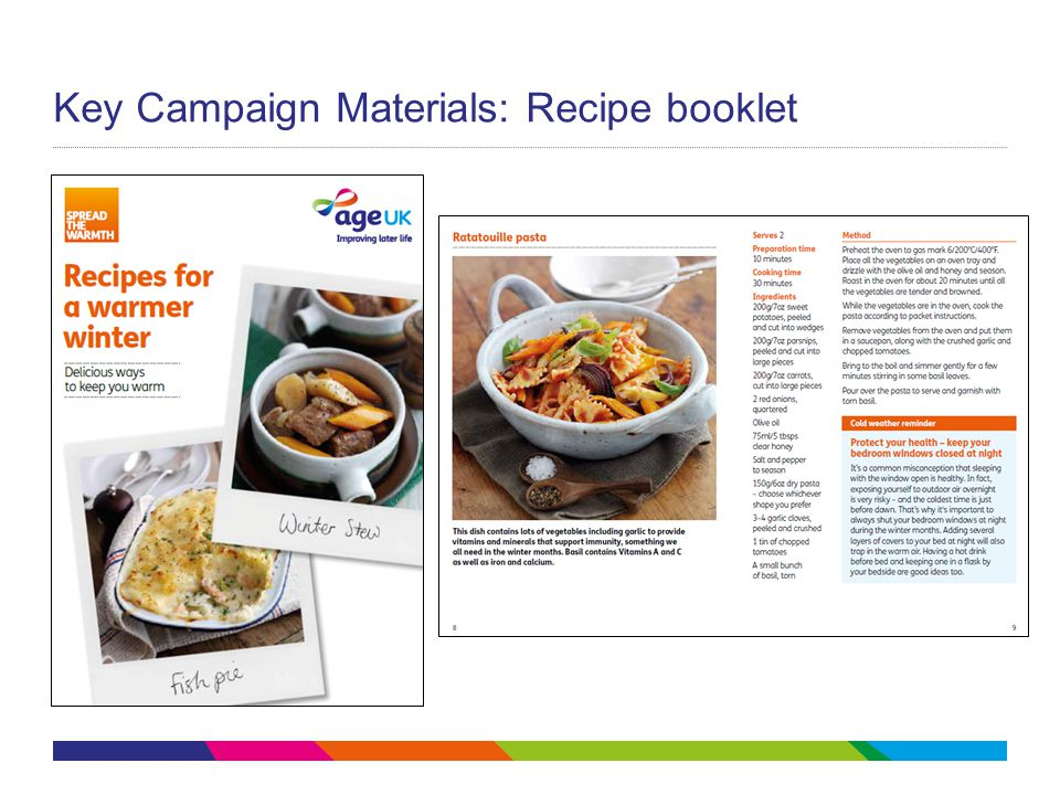 Key Campaign Materials: Recipe booklet
