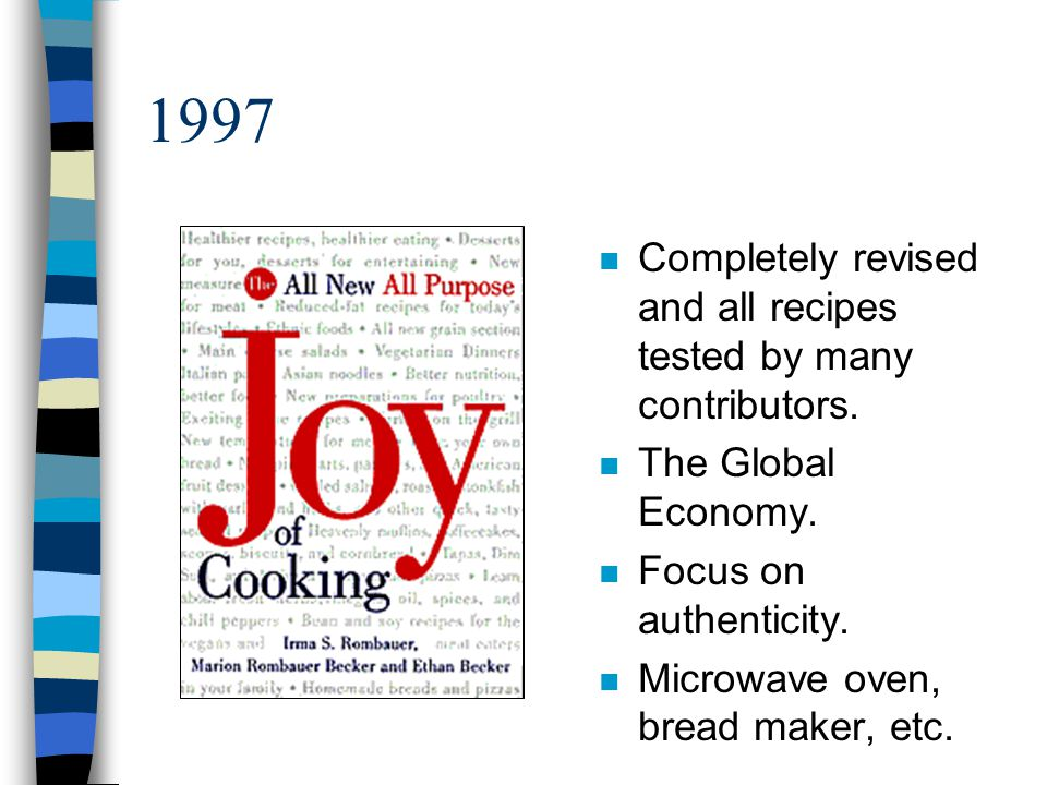 1997 n Completely revised and all recipes tested by many contributors. n The Global Economy. n Focus on authenticity. n Microwave oven, bread maker, e