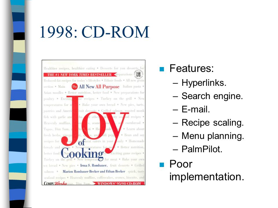 1998: CD-ROM n Features: –Hyperlinks. –Search engine. –E-mail. –Recipe scaling. –Menu planning. –PalmPilot. n Poor implementation.