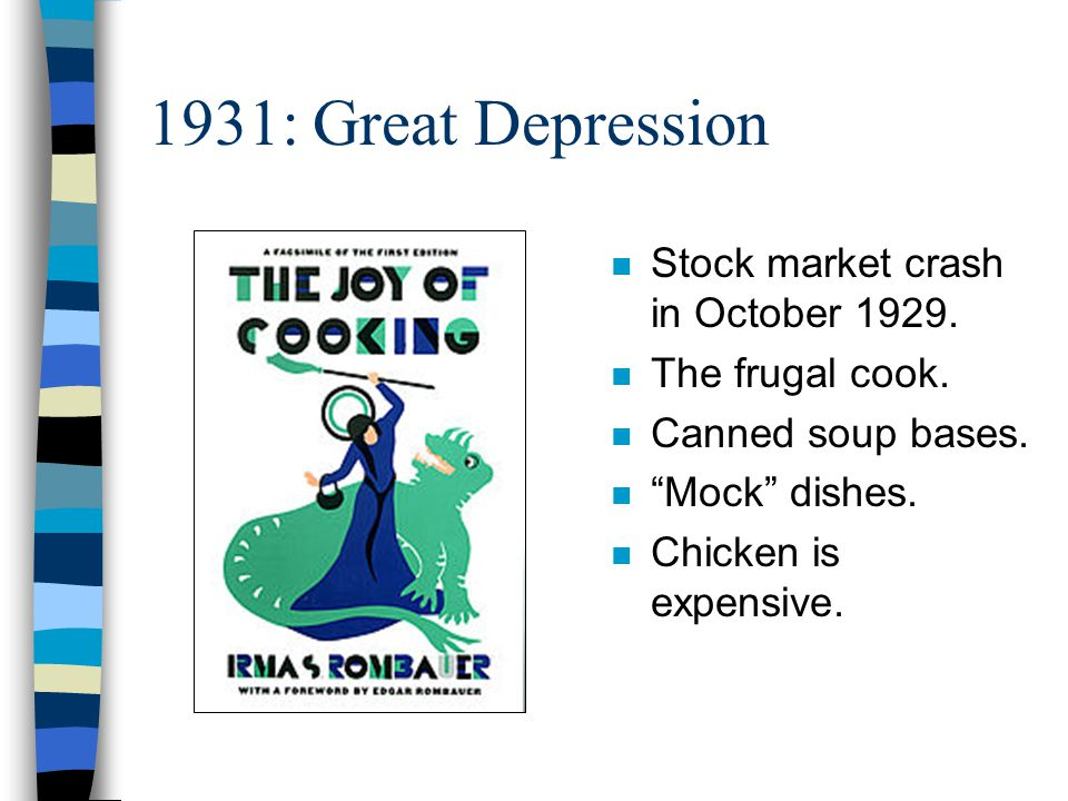 Conclusion n Book history affected by: –Politics and Economics –Science and Technology –Society and Culture n Future of American cooking and eating.