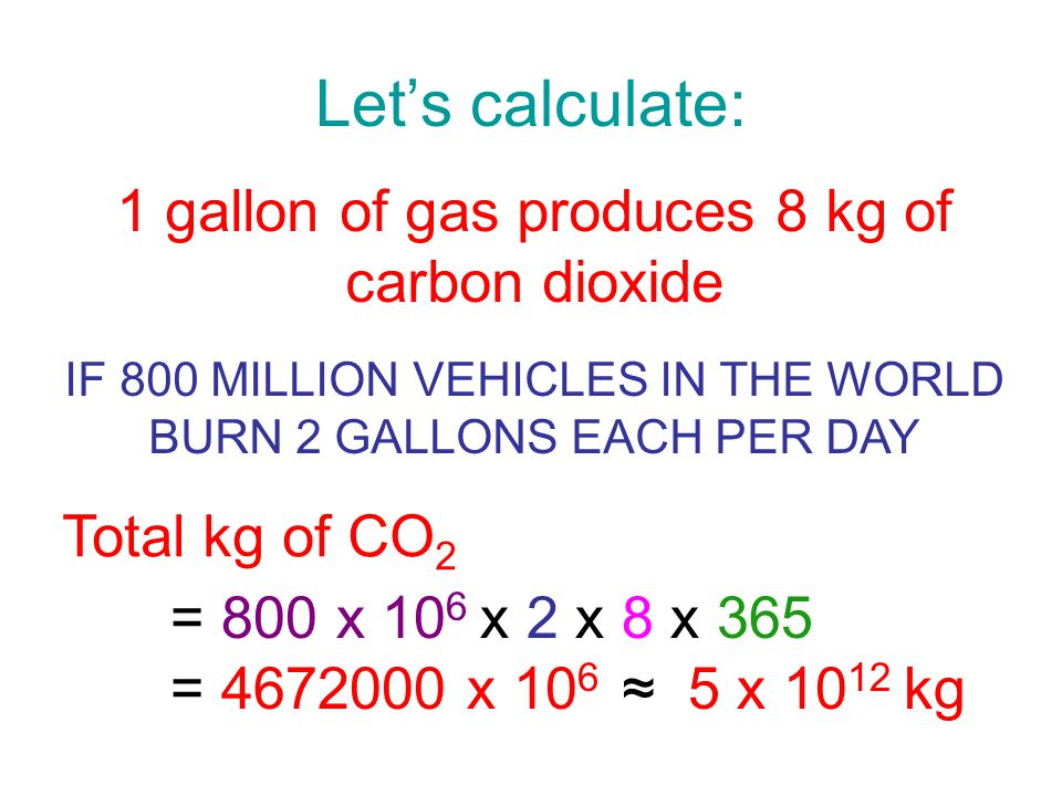 Lets calculate: 1 gallon of gas produces 8 kg of carbon dioxide IF 800 MILLION VEHICLES IN THE WORLD BURN 2 GALLONS EACH PER DAY = 800 x 10 6 x 2 x 8 x 365 = 4672000 x 10 6 5 x 10 12 kg Total kg of CO 2