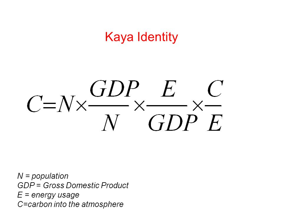 Kaya Identity N = population GDP = Gross Domestic Product E = energy usage C=carbon into the atmosphere