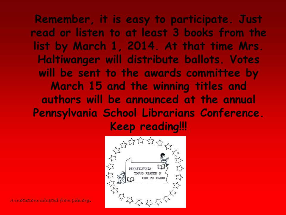 Remember, it is easy to participate. Just read or listen to at least 3 books from the list by March 1, 2014. At that time Mrs. Haltiwanger will distri