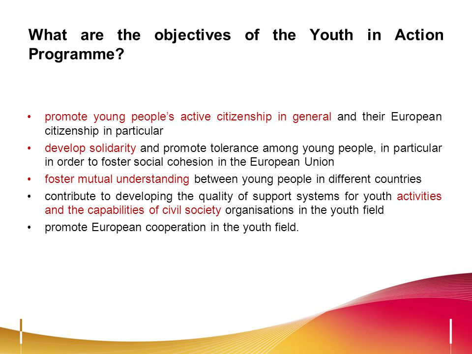 What are the objectives of the Youth in Action Programme? promote young peoples active citizenship in general and their European citizenship in partic