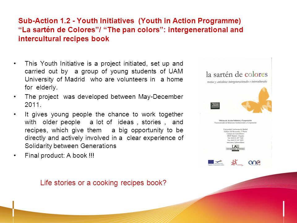 Sub-Action 1.2 - Youth Initiatives (Youth in Action Programme) La sartén de Colores/ The pan colors: intergenerational and intercultural recipes book