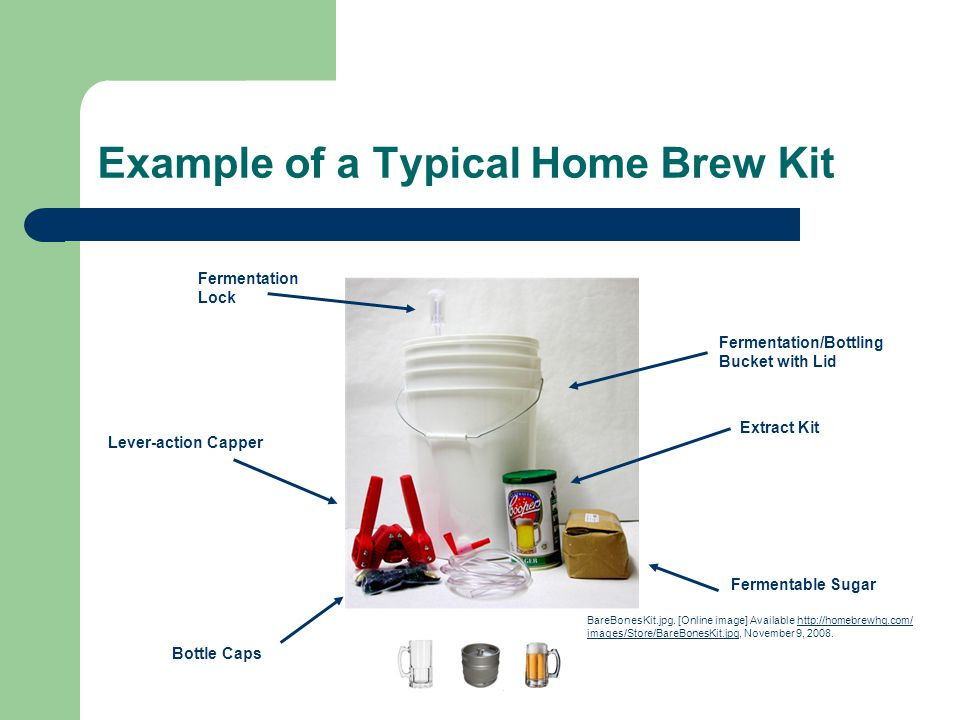Example of a Typical Home Brew Kit Fermentation Lock Lever-action Capper Bottle Caps Fermentable Sugar Extract Kit Fermentation/Bottling Bucket with L