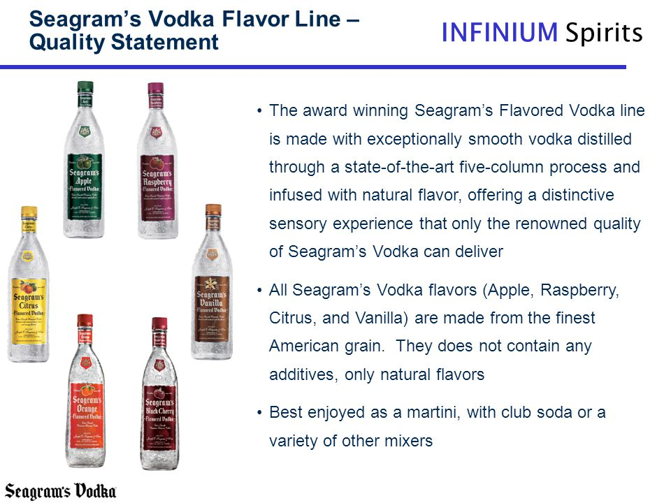 INFINIUM Spirits Seagrams Vodka Flavor Line – Quality Statement The award winning Seagrams Flavored Vodka line is made with exceptionally smooth vodka