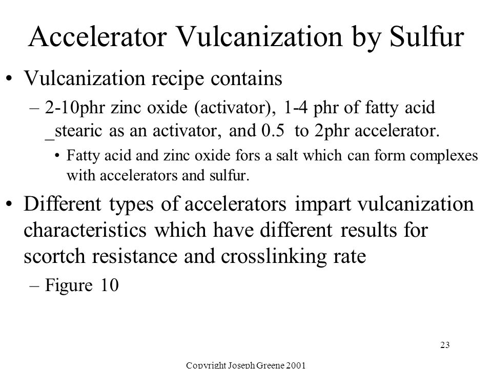 Copyright Joseph Greene 2001 23 Accelerator Vulcanization by Sulfur Vulcanization recipe contains –2-10phr zinc oxide (activator), 1-4 phr of fatty ac