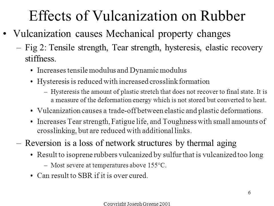 Copyright Joseph Greene 2001 6 Effects of Vulcanization on Rubber Vulcanization causes Mechanical property changes –Fig 2: Tensile strength, Tear stre