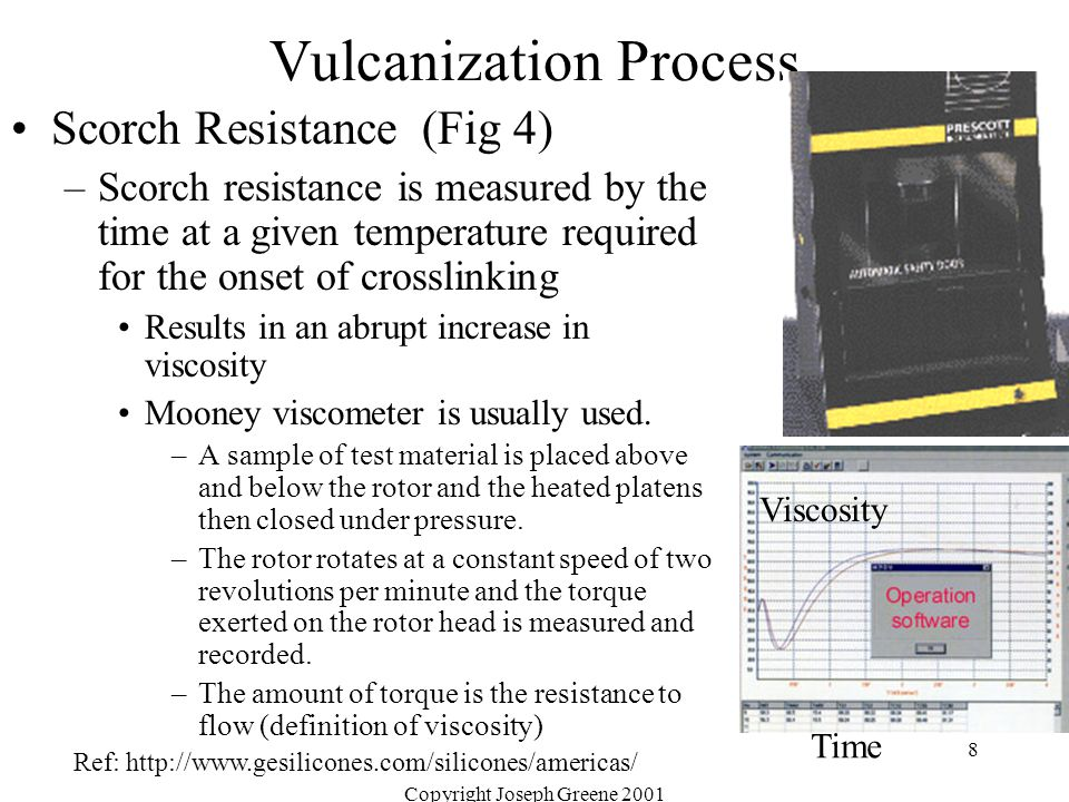 Copyright Joseph Greene 2001 8 Vulcanization Process Scorch Resistance (Fig 4) –Scorch resistance is measured by the time at a given temperature requi