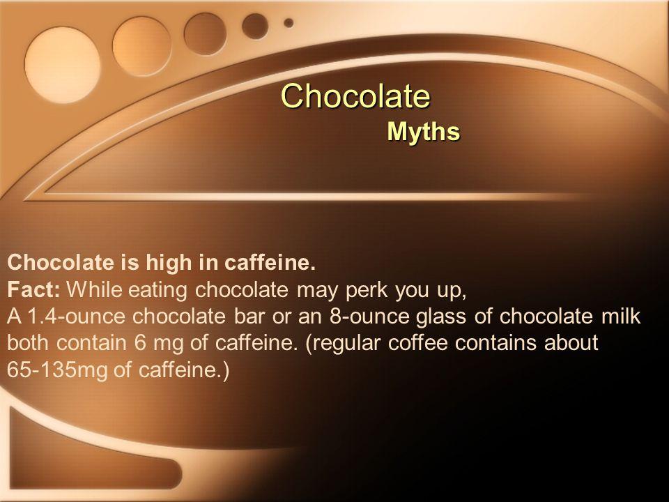Chocolate Chocolate Myths Myths Chocolate is high in caffeine.