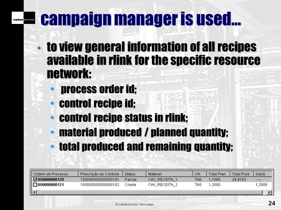 © Cybertécnica 2002 / Flávio Maeda 24 campaign manager is used...